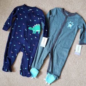 New Carters set of 2 6 or 9 month baby boy sleeper
